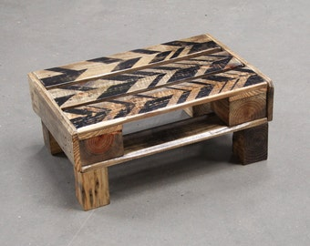 Black Chevron Geo-Art Recycled Reclaimed Pallet Coffee Table