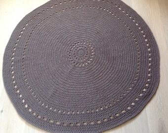 Flour wool round rug - taupe