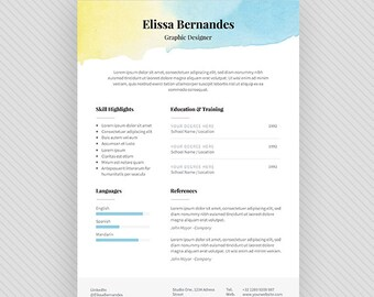 "Resume Template / CV Template + Cover Letter for MS Word and Photoshop | Instant Digital Download - ""Pandora"""