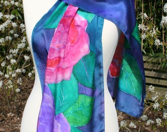 Silk scarf with pink and red flowers on purple. NEW PRICE