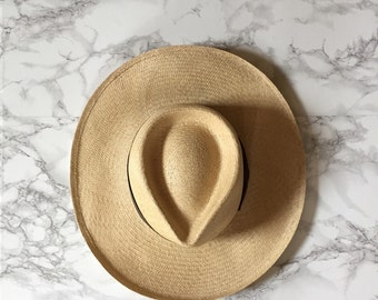 1970s genuine panama hat / wide brim fedora panama sun hat / straw sun hat