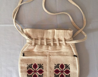 SALE...linen woven bag | drawstring purse | embroidered bag
