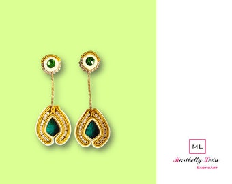 Earrings/Ohrringe/Earrings Soutache green mustard