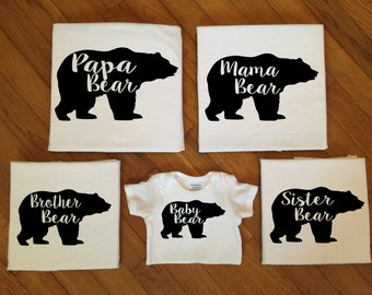 SALE! Family Bear Shirts, Family Matching Shirts, Matching Family Bear Silhouette TShirt Tops