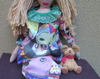 Hand made one of a kind , textile doll