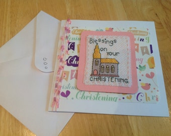 Completed cross stitch Baby Girls Christening.