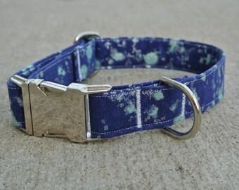 Silver and Teal Splatter Blue Dog Collar