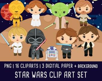 20% OFF Star wars Clipart, Disney Star Wars clip art, starwars clipart, darth vader, star wars party, Instant Download PNG 300 - dpi