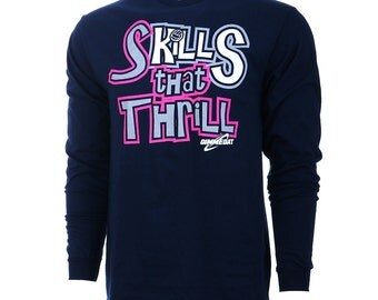 SALE! Skills That Thrill Long Sleeve Volleyball T-Shirt, Volleyball Shirts, Volleyball Gift - Free Shipping!