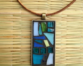 Turquoise Necklace/ Turquoise Pendant Necklace/Mosaic Stained Glass Necklace/Mosaic Jewelry/Boho Chic/Boho Necklace/Statement Necklace/P16
