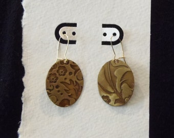 Oval Etched Foliage Earrings
