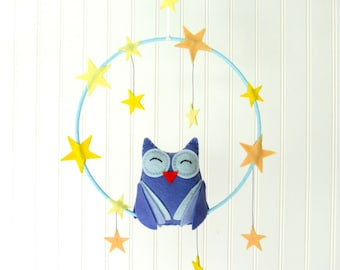 Felt Owl Mobile in blue with stars