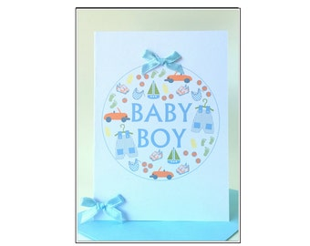Baby Boy Greeting Card - Bauble #LB-173