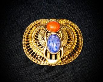 Vintage MaryMcFadden Egyptian Revival Scarab Brooch/Scarf Clip