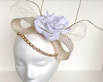 White Rose Fascinator