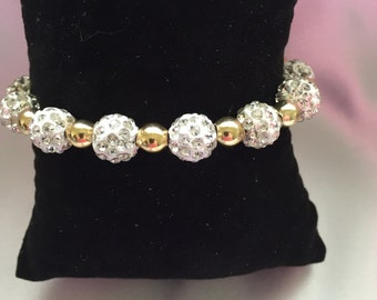 Pave Disco, White with gold Beads!