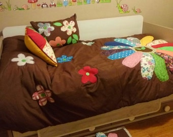 PATCHWORK QUILT, with handmade cushions and carpet game