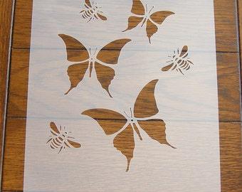 Butterflies and Bees Stencil Mask Reusable Mylar Sheet for Arts & Crafts