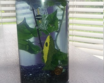 Fish with pole gel candle