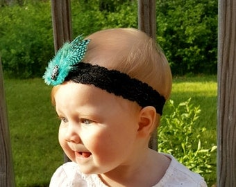 Gorgeous blue feather headband set on black stretchy lace