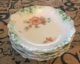 Set of Small Vintage Hand Painted Plates
