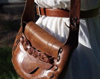 Tooled Leather Vintage Saddle Bag 70's
