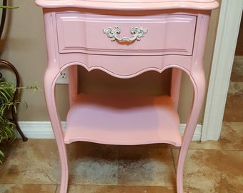 Vintage French Provincial Nightstand - Pink for Girl's Room