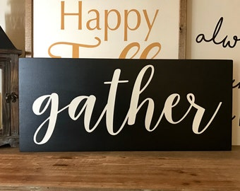 Gather wood sign/ Fall sign/ Happy Fall/ Fall decor/ Thanksgiving decor/Farmhouse