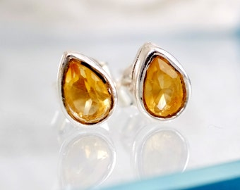 Citrine Earrings, Yellow Earrings, Silver Stud Earrings, Genuine Citrine Gemstone Earrings, Post earrings, November birthstone earrings gift