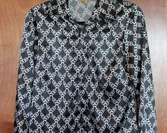 vintage black and white patterned shimmery blouse - small