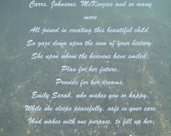 Emily - Poem to welcome a new baby. Bespoke Poetry Example