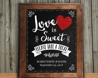 """Printable Love is Sweet, Please Take a Treat Chalkboard Heart Signs - Black, 2 sizes: 8""""x10"""" and 11""""x14"""", Editable PDF, Instant Download"""