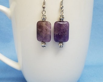 Amethyst rectangle stone earrings, silver earrings, amethyst earrings, dangle earrings, purple