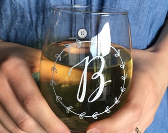 Stemless Wine Glass   Bridesmaid Gift   Party Favor   Bridal Party Gifts   Wedding   Bachelorette   Personalized Wine Glass   Engagement