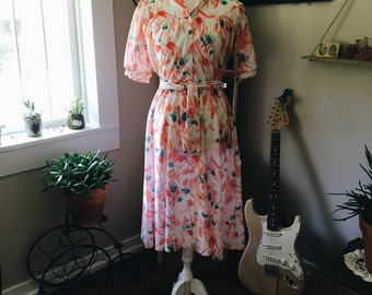 Vintage Lively Floral Printed Dress