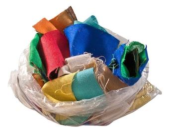 Assorted 8oz Burlap Scrap Bag - 1 Pound, 100% Jute, Assorted Colors and Piece Sizes, Burlap Grab Bag