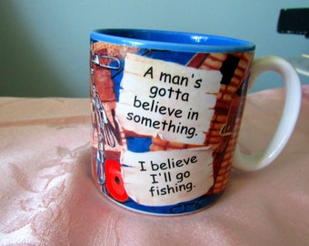 For a Fisherman Vintage Fishing Mug, Blue Interior,by Flowers Inc Balloons   21
