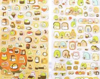 Sumikko Gurashi stickers cute kawaii animals eating dinner