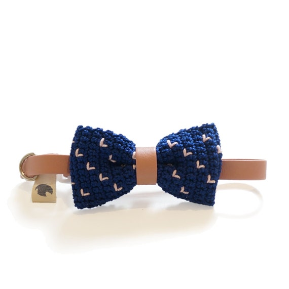 Pet Bow Tie - SANTORINI, pet accessories, pet bow tie, pet bowtie, dog bow tie collar, cat bow tie collar, crochet bow tie