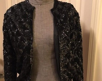 CASI Black Sequin Jacket - 1960's Size M