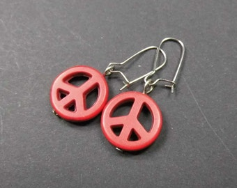 Red earrings turquoise peace sign of earrings