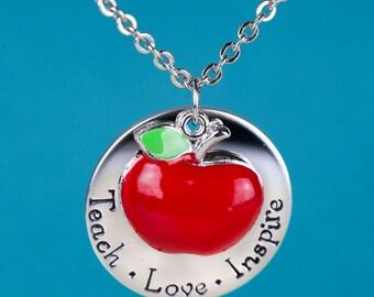 Teacher Necklace - Teach Love Inspire - WithApple Charm - Gift for Teacher - Ready to Gift  - Teacher Gift