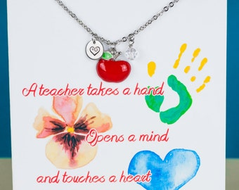 Teacher Necklace - Monogram Necklace - Teacher Apple Necklace - with a Card - Ready to Gift  - Teacher Gift