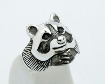Raccoon ring - sterling silver