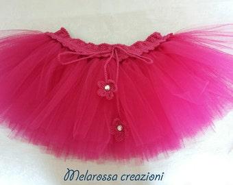 Fuchsia cotton and tulle Tutu skirt girl