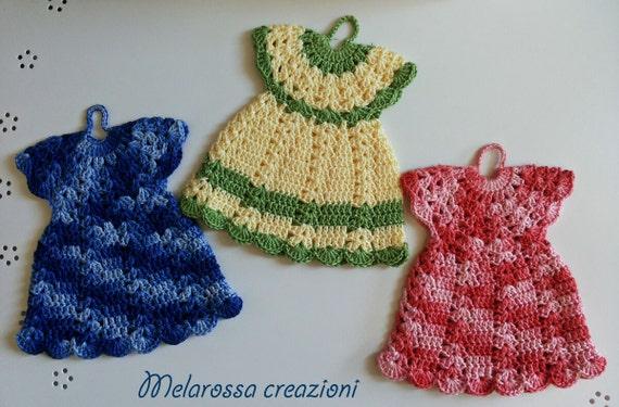 Agarrador de cocina crochet vestido lavable por melarossacreazioni