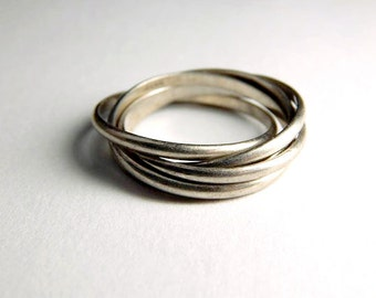 Vintage 925 Sterling Silver 5 Band Rolling Ring - Vintage Sterling Rolling Ring - 5 Band Rolling Ring - Rolling Ring