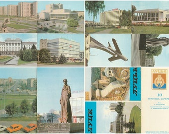 Soviet Ukraine postcards set Vintage soviet Lutsk city art postcards Collectible postcard Vintage souvenir World cities Old postcards