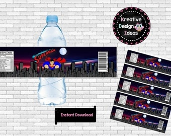 Superman Water Labels, Superman Labels or Stickers, Superman Party Printables - INSTANT DOWNLOAD