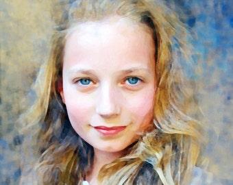 girl portrait personalised custom art pet portrait family portrait kid portrait digital mixed media